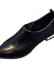 Women's Loafers & Slip-Ons Spring Comfort Cowhide Casual Low Heel Jewelry Heel Black Red Walking