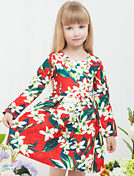 Girls Fashion Autumn New School Safflower A  Line  Princess Dress