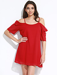 Women's Off The Shoulder Off Shoulder Chiffon Mini Dress