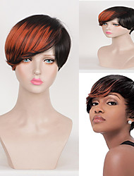 Color Mixed Short Straight Wig Cheap Heat Resistant Popular Design Daily Natural Looking Hairstyle