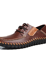 Men's Oxfords Fall Winter Comfort PU Casual Flat Heel Lace-up Black Brown Coffee