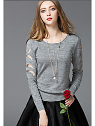Women's Casual/Daily Simple Short Pullover,Solid Embroidered Mesh Round Neck Long Sleeve Red Black Gray Nylon Spring Micro-elastic