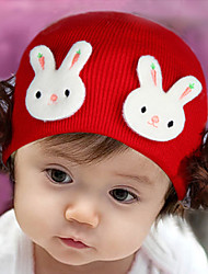 Girl's Knitting Cute Winter Going out/Casual/Daily Keep Warm Solid Color Rabbit Headgear Wig Hat Children Cap