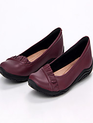 Women's Flats Spring Fall Winter Comfort Nappa Leather Outdoor Office & Career Dress Casual Flat Heel Ruffles Burgundy Other