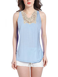Women's Solid Blue Tanks,V Neck Sleeveless