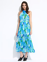 Women's Party A Line Dress,Floral Halter Maxi Sleeveless Blue Summer