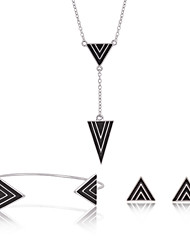 Women Bikini Party Triangle Inlay Clavicle Chain Necklace Earrings Bracelet Three-piece