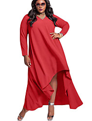 Women's V Neck Long Sleeve High Low Plus Dress