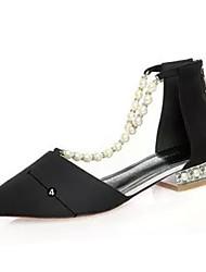 Damen Flache Schuhe Komfort PU Herbst Hochzeit Komfort Perle Flacher Absatz Schwarz Grau Rot Flach
