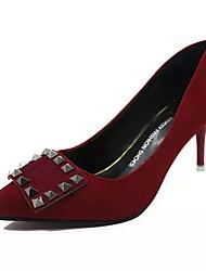Damen-High Heels-Kleid Lässig-PU-Kitten Heel-Absatz-Andere-Schwarz Grün Rot Grau