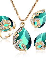 Mujer Juego de Joyas Cristal Corazón joyería de disfraz Cristal Legierung Forma de Corazón 1 Collar 1 Par de Pendientes Argollas Para