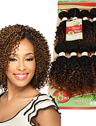 8inch Brazilian Curly Hair 8 Bundles Short kinky curly human weft Brazilian Weave afro curly ombre hair extensions colors 1B/27/30/BUG remy Weaving