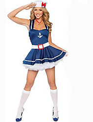 Cosplay Costumes Party Costume Sailor/Navy Career Costumes Movie Cosplay Blue Solid Dress Hat Halloween Carnival Female Polyester