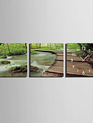 MINI SIZE E-HOME Park Creek Clock in Canvas 3pcs