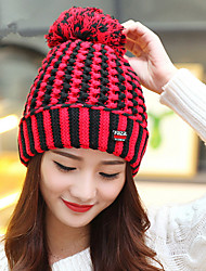 Handmade Large Hair Ball Ear Pads Striped Head Cap Wool Cap