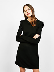 европа зима пассива юбка тонкое платье воланов рукав рог