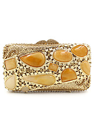 Women Metal Formal Event/Party Wedding Evening Bag Diamonds Clutch HandbagPurse/Agate Stone Black Gold Silver