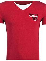 Herren Solide Einfach Lässig/Alltäglich Formal Urlaub T-shirt,V-Ausschnitt Kurzarm Blau Rot Grau Silber Leinen
