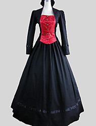 Outfits Gothic Lolita Victorian Cosplay Lolita Dress Solid Long Sleeve Ankle-length Skirt For Cotton
