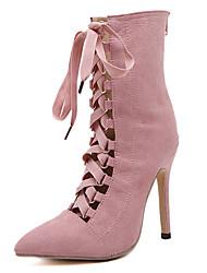 Feminino-Botas-Conforto Inovador Sapatos clube Light Up Shoes-Salto Agulha-Preto Rosa-Camurça-Ar-Livre Social Festas & Noite