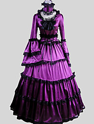 One-Piece/Dress Gothic Lolita Victorian Cosplay Lolita Dress Solid Long Sleeve Ankle-length Dress For Charmeuse