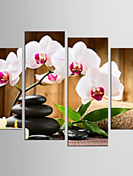 Canvas Set Still Life Floral/Botanical Modern Realism,Four Panels Canvas Any Shape Print Wall Decor For Home Decoration