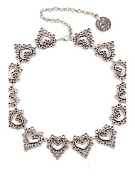 Necklace Europe Collar Fashion Heart Shape Short Silver Hollow Necklace Choker Necklace