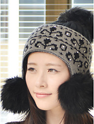 Are New Autumn And Winter Really Hair Ball Fur Rabbit Hair Wool Hat Knitted Hat Warm Ear Protective Sleeve Cap