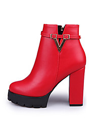 Women's Boots Fashion Boots PU Fall Winter Casual Fashion Boots Chunky Heel Black Ruby 2in-2 3/4in