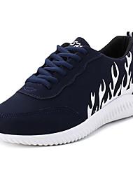 Masculino-Tênis-Conforto-Rasteiro-Preto Azul Escuro Cinzento ecuro-Couro Ecológico-Casual