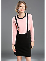 Women's Going out Casual/Daily Simple Cute Sheath Dress,Solid Round Neck Above Knee Long Sleeve Pink Cotton Summer Fall Mid Rise