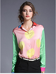 Women's Casual/Daily Sexy Spring Shirt,Rainbow Square Neck Long Sleeve Multi-color Rayon Medium