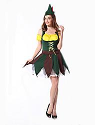Disfraces de Cosplay Ropa de Fiesta Baile de Máscaras Cuento de Hadas Diosa Disfraces Romanos Cosplay de películas  Verde Un ColorVestido