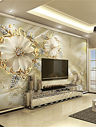 JAMMORY White Jade Carving Large Flower Decor 3D Fashion Wallpaper Personality Wallpaper Mural  Wall Covering Canvas Material Golden ChurchXL XXL XXXL