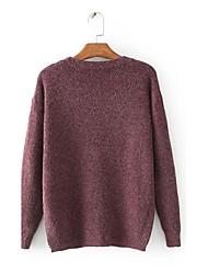 Damen Standard Pullover-Ausgehen Lässig/Alltäglich Einfach Street Schick Solide Rot Grün Lila Rundhalsausschnitt LangarmKunst-Pelz
