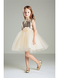 Princess Knee-length Flower Girl Dress - Cotton Sequined Jewel with Bow(s) Sequins