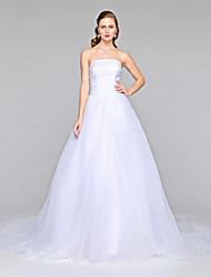Lanting Bride® Trapèze Robe de Mariage  - Classique & Intemporel Dos ouvert Traîne Chapelle Sans Bretelles Organza avecDrapée sur le côté