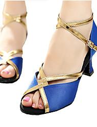 Damen-Sandalen-Kleid-Satin Kunstleder-Stöckelabsatz-Andere-Blau Lila Rot Orange Tierdruck