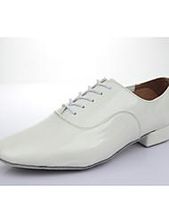 Customizable Men's Dance Shoes Leatherette Latin Low Heel Practice Beginner Professional Indoor Performance