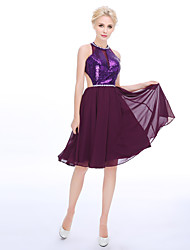 Cocktail Party Dress A-line High Neck Knee-length Chiffon Sequined with Pearl Detailing
