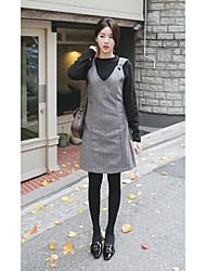 Women's Casual/Daily Simple Tunic Dress,Striped V Neck Above Knee Sleeveless Gray Cotton Spring Mid Rise Micro-elastic Medium