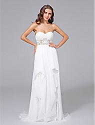 Funda / Columna Escote Corazón Larga Raso Encaje Vestido de novia con Encaje Plegado por LAN TING BRIDE®