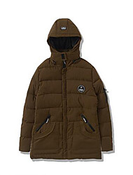 Men's Down Coat,Simple Plus Size Casual/Daily Solid-Polyester White Duck Down Long Sleeve Brown