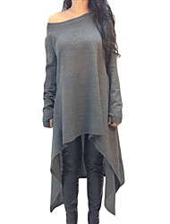 Women's Asymmetric Hemline Long Sleeve Oversize Sweater