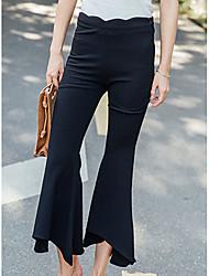 Femme Boot Cut Chino Pantalon,Sexy Vintage Sortie Décontracté / Quotidien Couleur Pleine Taille Haute fermeture Éclair Coton