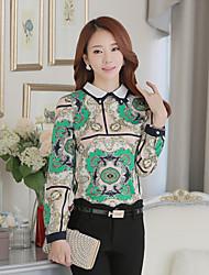 Sign shirt 2016 spring new Korean chiffon shirt casual shirt tide big yards female long-sleeved shirt