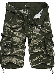 Masculino Pequeno Solto Chinos Calças-Cor Única Camuflagem Casual Simples Camurça Cintura Média Zíper Algodão Inelástico Verão