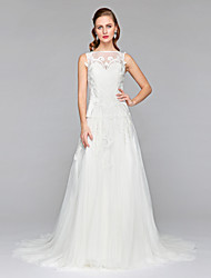 2017 Lanting Bride® A-line Wedding Dress - Chic & Modern See-Through Wedding Dresses Court Train Bateau Tulle with Appliques