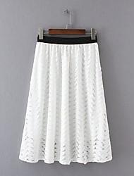 Damen Röcke,A-Linie einfarbig Spitze,Ausgehen Lässig/Alltäglich Einfach Street Schick Mittlere Hüfthöhe Knielänge ElastizitätPolyester