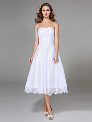 2017 Lanting Bride® A-line Wedding Dress - Classic & Timeless Little White Dresses Tea-length Strapless Lace with Ruche